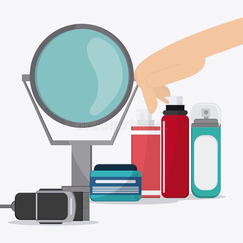 Diseño de los iconos del peluquero stock de ilustración