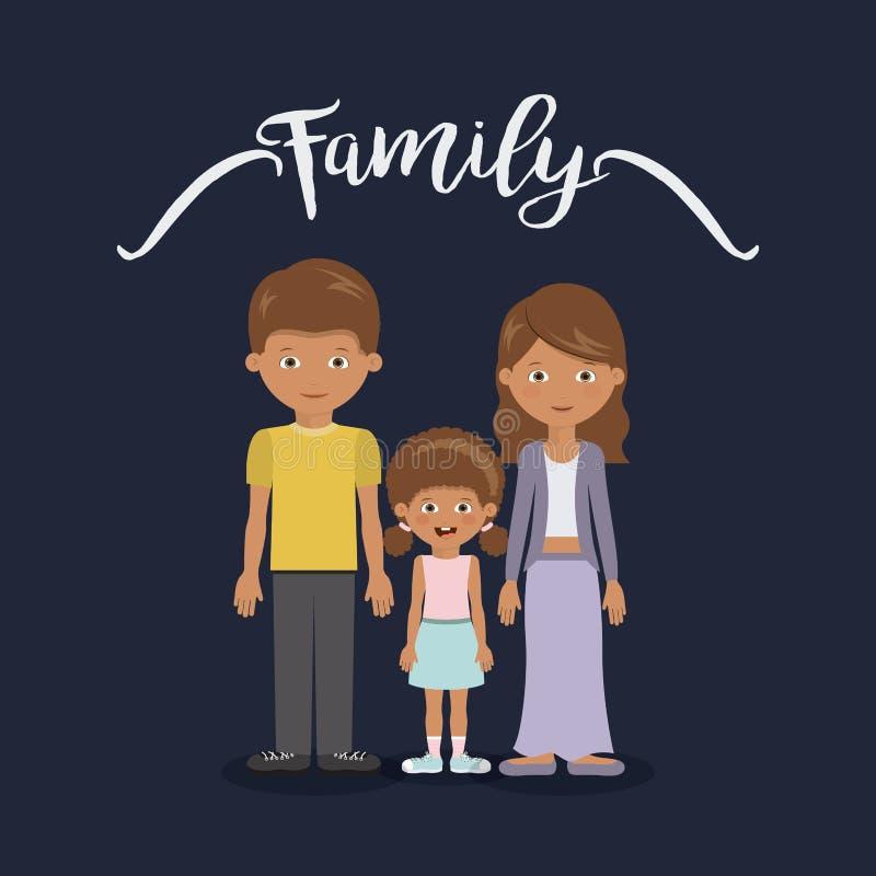 Diseño de los miembros de la familia stock de ilustración