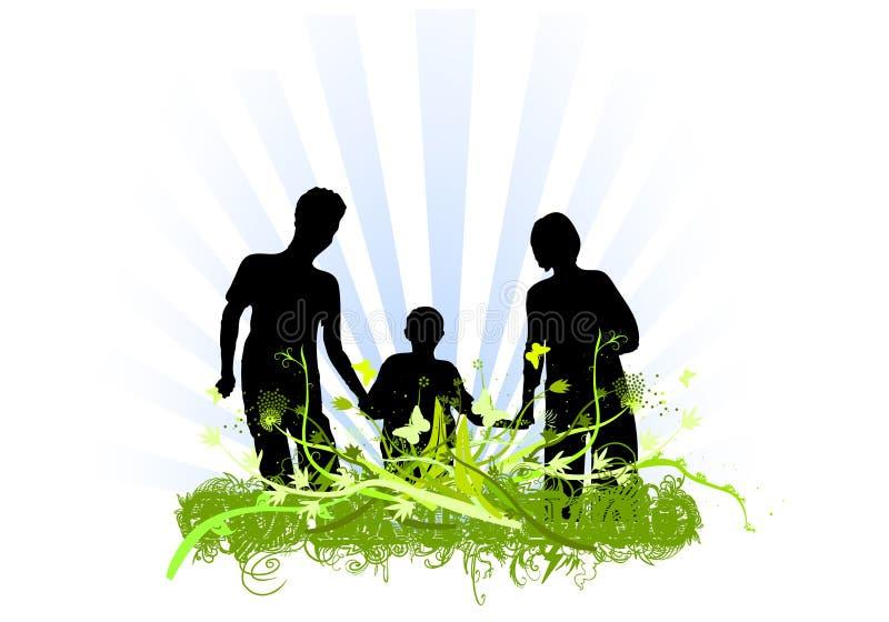 Diseño de los ornamentos del amor de la familia stock de ilustración