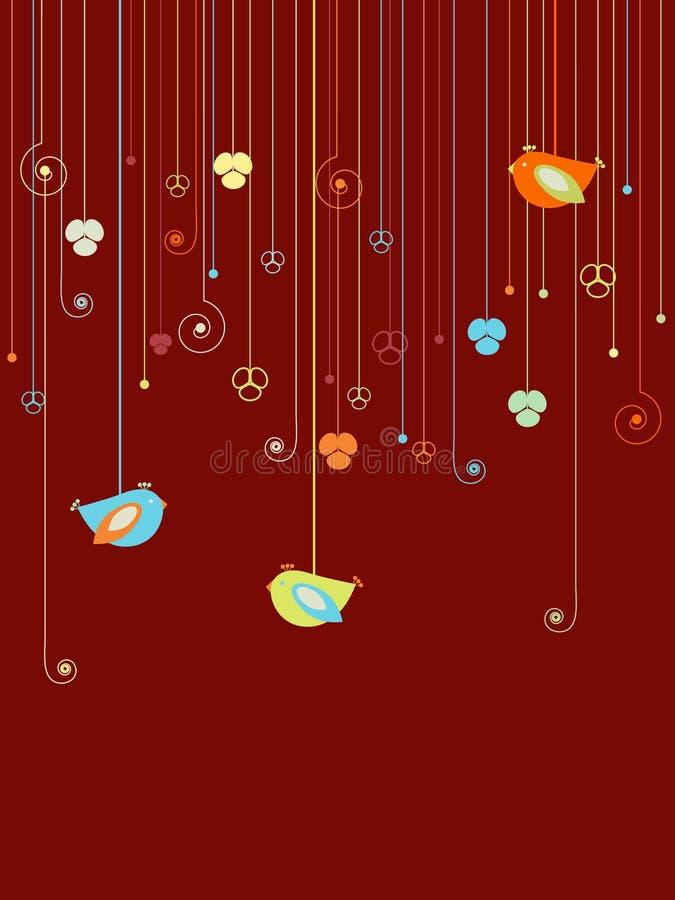 Diseño de los pájaros y de las flores