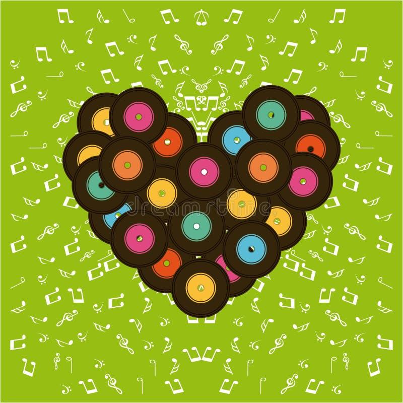 Diseño de los vinilos de la música stock de ilustración