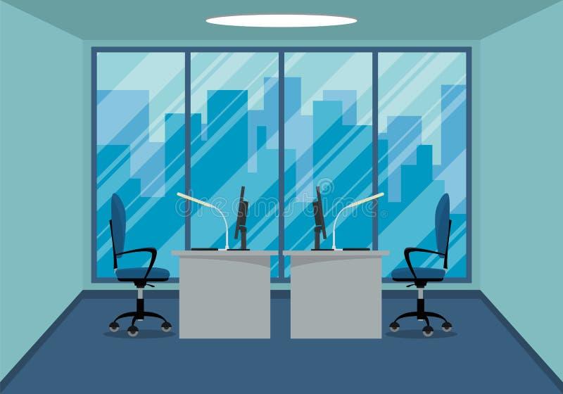 Diseño de lugar de trabajo moderno del diseño de la oficina con la ventana grande imagen de archivo