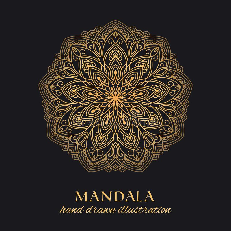 Diseño de lujo del ornamento del vector de la mandala Elemento gráfico redondo de oro en fondo negro ilustración del vector