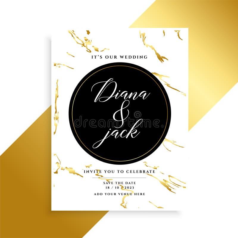 Diseño de lujo de la invitación de boda con la textura de mármol libre illustration