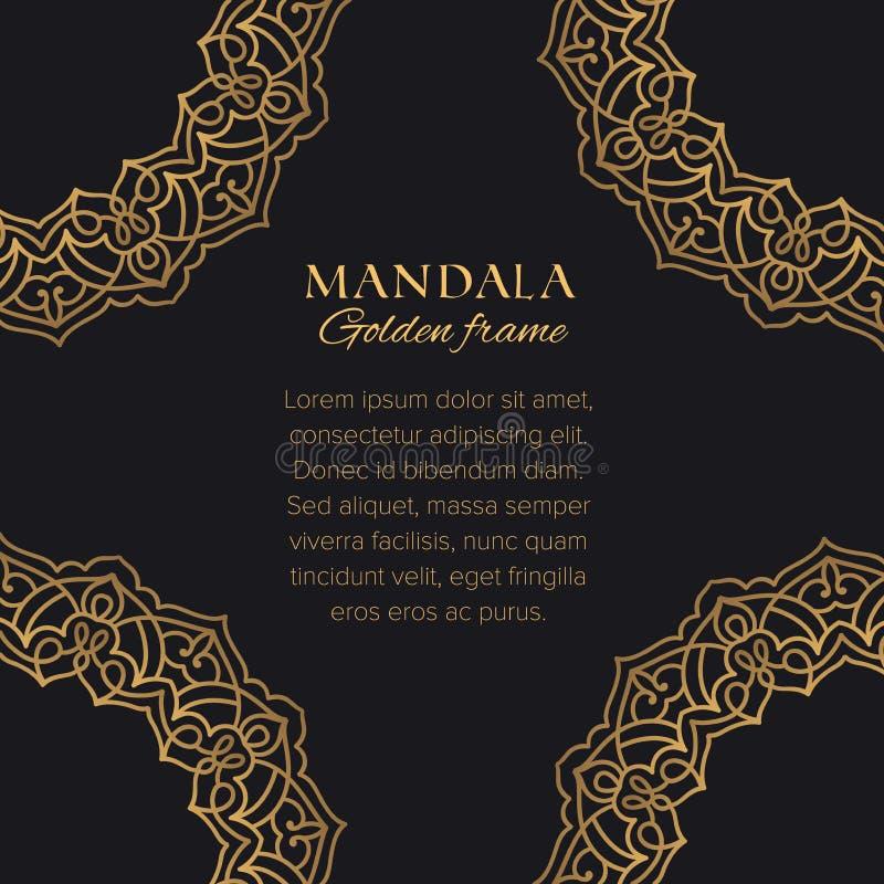 Diseño de lujo de los ornamentos árabes Elementos gráficos decorativos de oro en fondo negro ilustración del vector