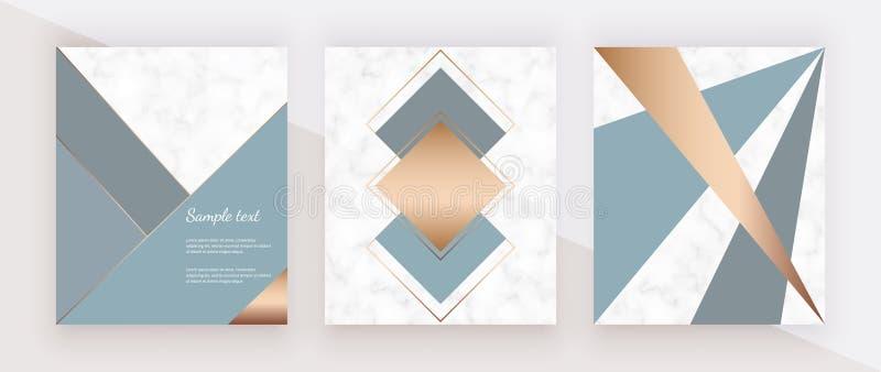 Diseño de mármol geométrico moderno con las líneas de oro, los triángulos azules y grises y las formas de los hexágonos Fondos de libre illustration