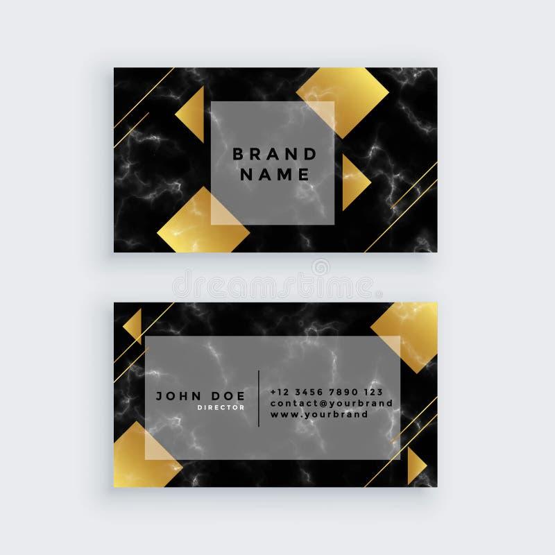 Diseño de mármol de lujo de oro elegante de la tarjeta de visita stock de ilustración