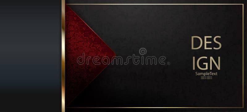 Diseño de mármol negro texturizado extracto con una raya del oro y una flecha roja ilustración del vector