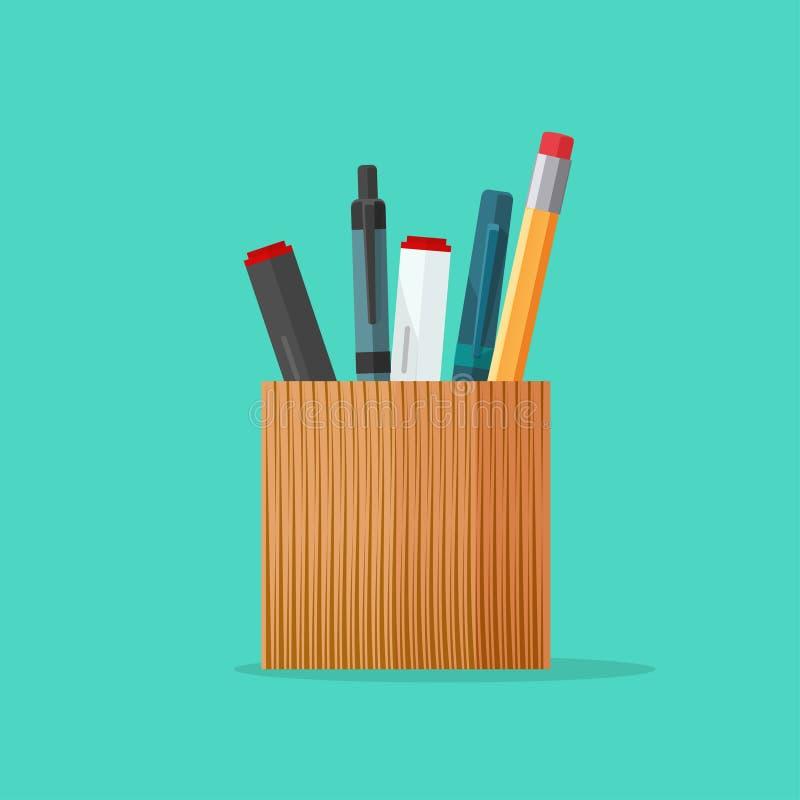 Diseño de madera del tenedor de los efectos de escritorio de la pluma y del lápiz ilustración del vector