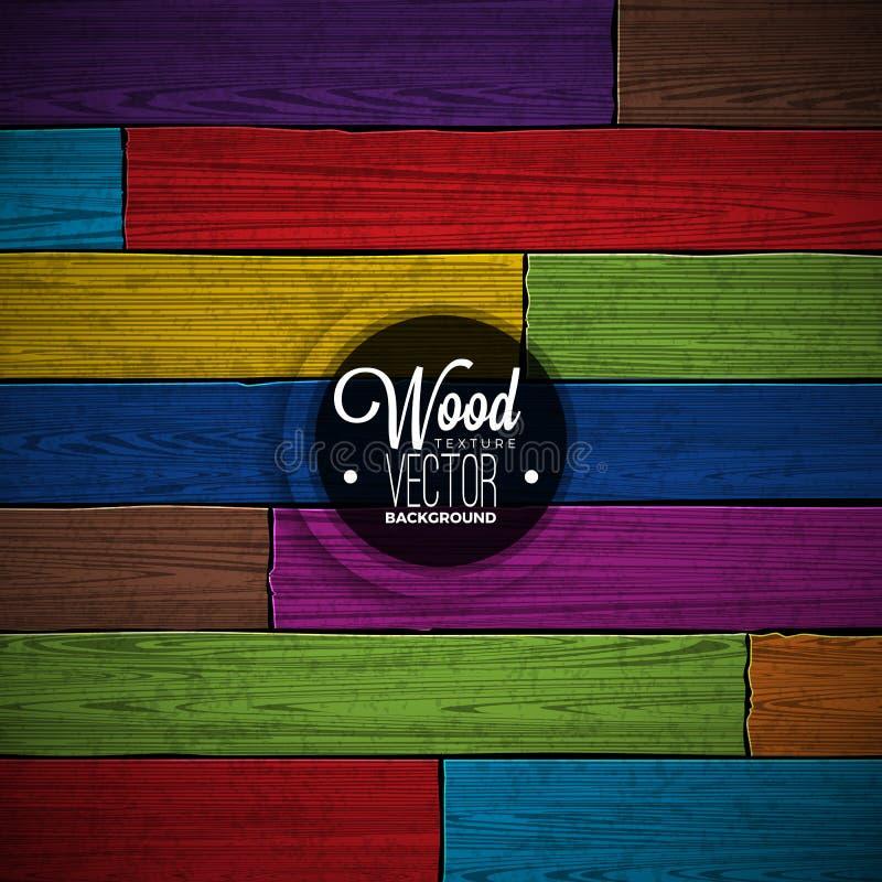 Diseño de madera pintado color del fondo de la textura del vector Ejemplo de madera del vintage oscuro natural libre illustration