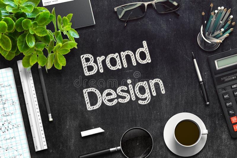 Diseño de marca en la pizarra negra representación 3d imagenes de archivo