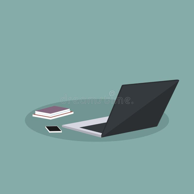 Diseño de materiales de oficina con el ordenador portátil libre illustration