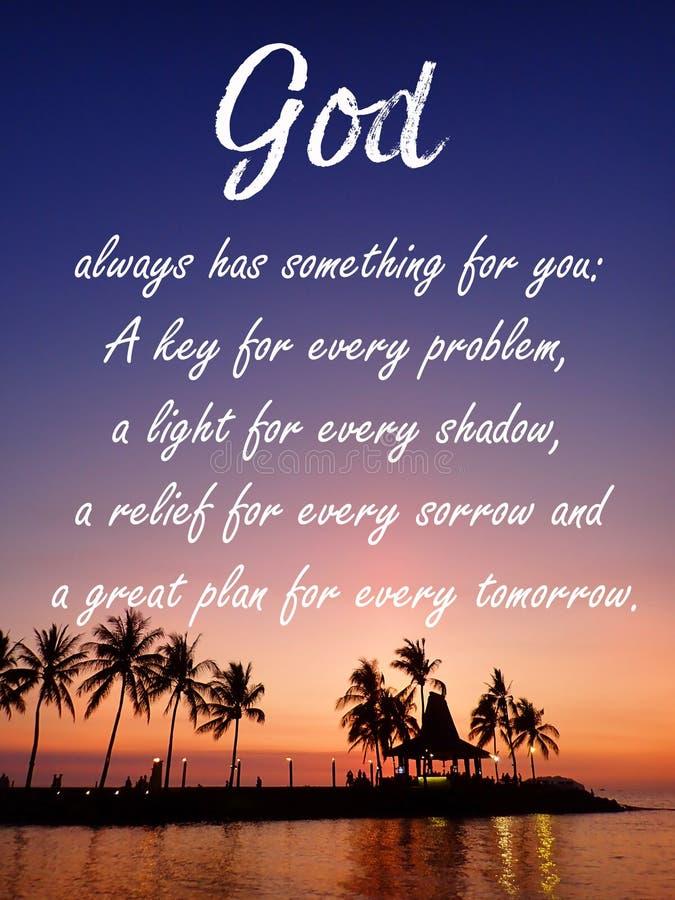 Diseño de mensaje inspirador de dios para el cristianismo con el fondo de la puesta del sol ilustración del vector