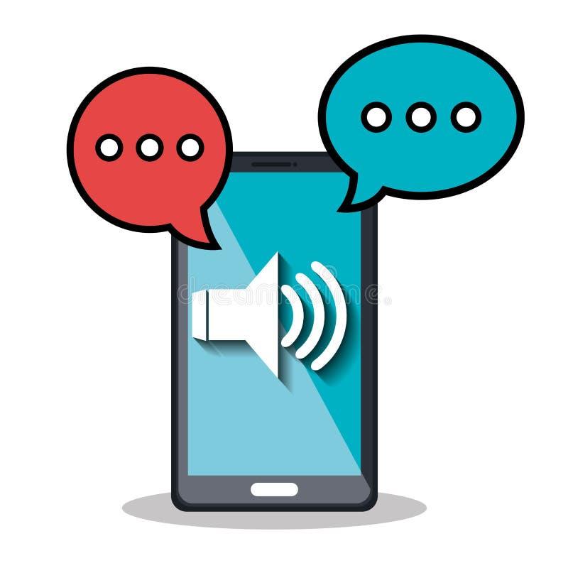 diseño de mensajes de la voz ilustración del vector