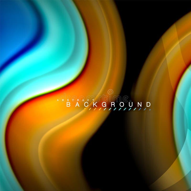 Diseño de mezcla flúido del fondo del extracto de la onda del vector de los colores Ondas coloridas de la malla ilustración del vector