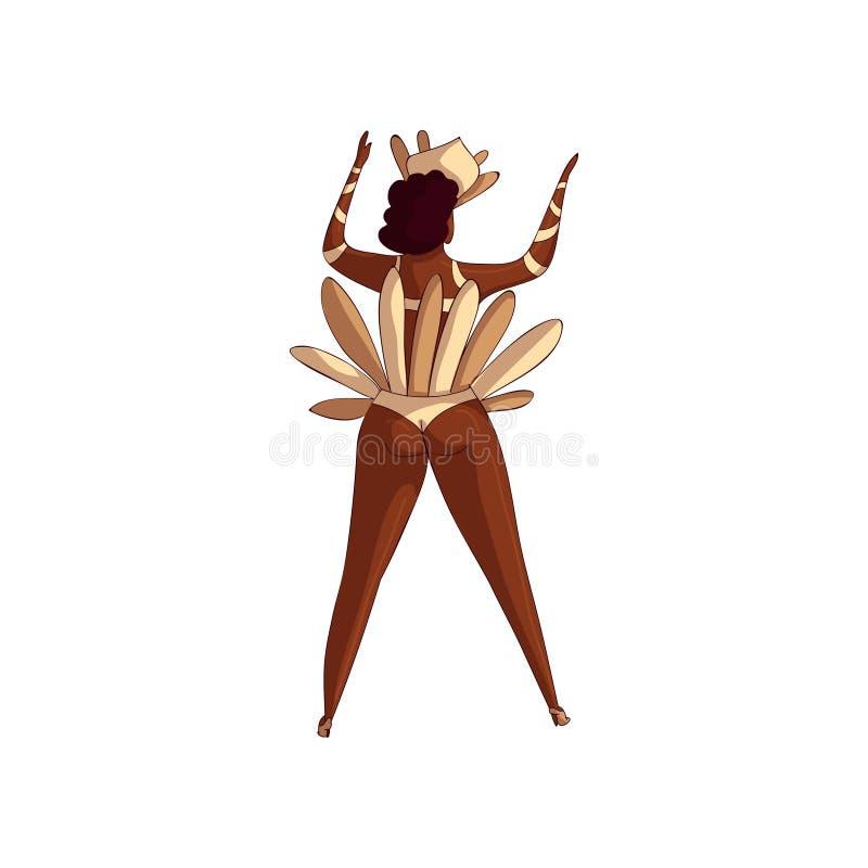 Diseño de moda de bailarín brasileño de la samba, visión trasera del vector Mujer Latino en la acción de baile Muchacha en bikini ilustración del vector