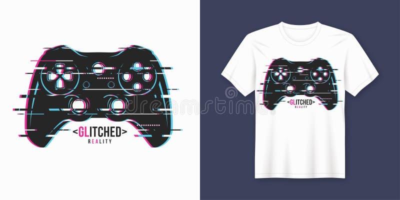 Diseño de moda elegante de la camiseta y de la ropa con el gamepad glitchy, stock de ilustración