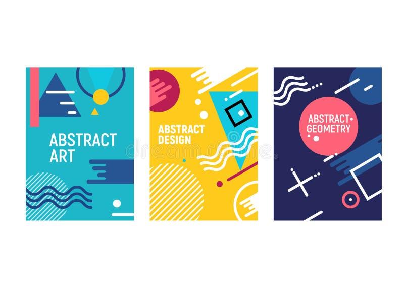 Diseño de moda geométrico del fondo de la moda de las tarjetas del estilo de Memphis Plantilla gráfica del cartel de la cubierta  ilustración del vector