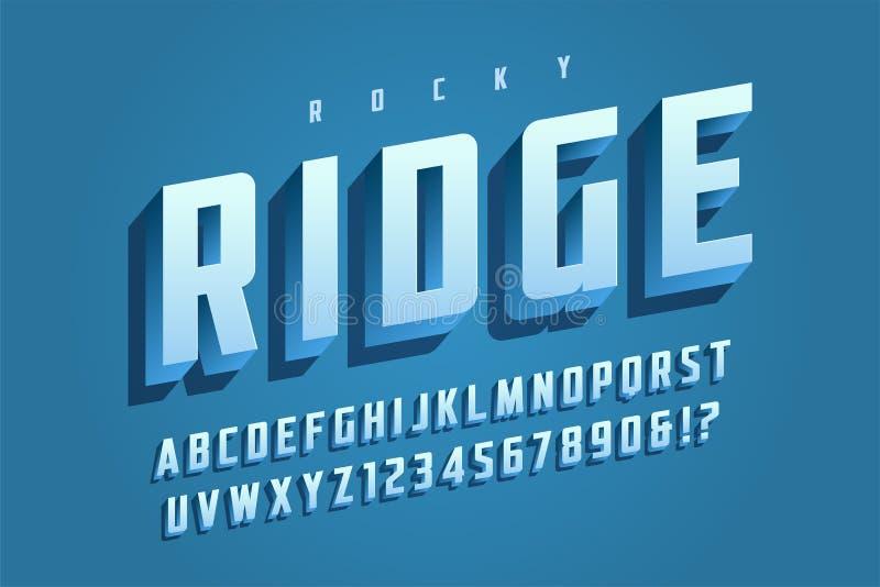 Diseño de moda de la fuente de la exhibición 3d del vector, alfabeto, tipografía, letra ilustración del vector