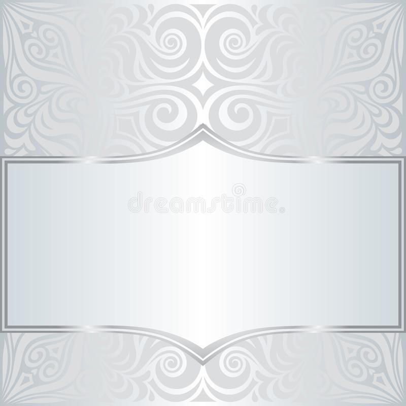 Diseño de moda de la mandala de la moda del vintage del modelo del fondo floral brillante de plata del papel pintado con el espac ilustración del vector