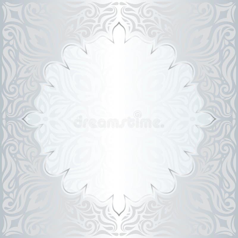 Diseño de moda de la mandala de la moda del vintage del modelo del fondo floral brillante de plata del papel pintado con el espac stock de ilustración