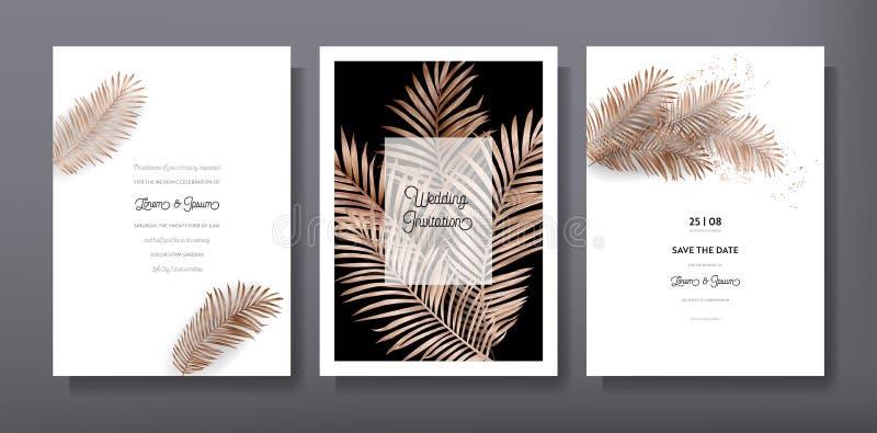 Diseño de moda tropical de la plantilla de la tarjeta del saludo o de la invitación, sistema del cartel, aviador, folleto, cubier ilustración del vector