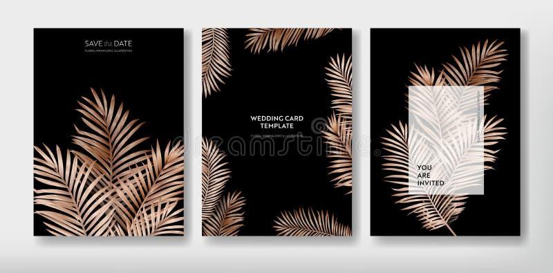 Diseño de moda tropical de la plantilla de la tarjeta del saludo o de la invitación, sistema del cartel, aviador, folleto, cubier stock de ilustración