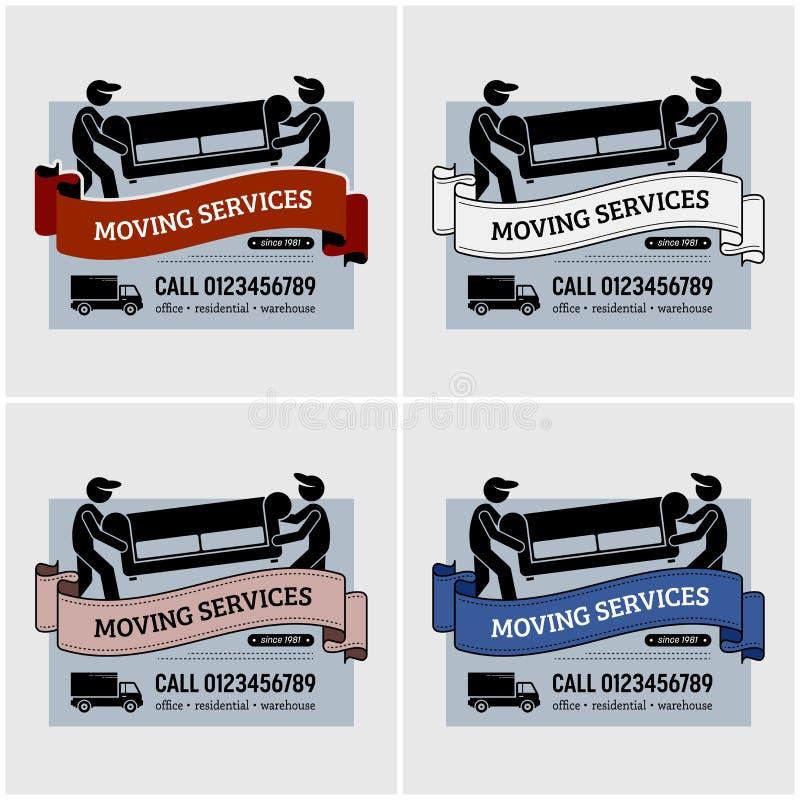 Diseño de mudanza del logotipo de la compañía de servicios stock de ilustración