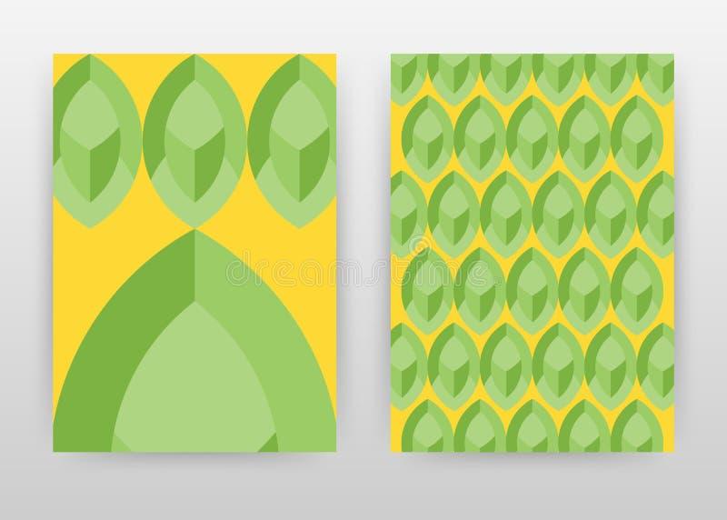 Diseño de negocio amarillo verde geométrico para el informe anual, folleto, aviador, cartel Ejemplo verde del vector del fondo de libre illustration