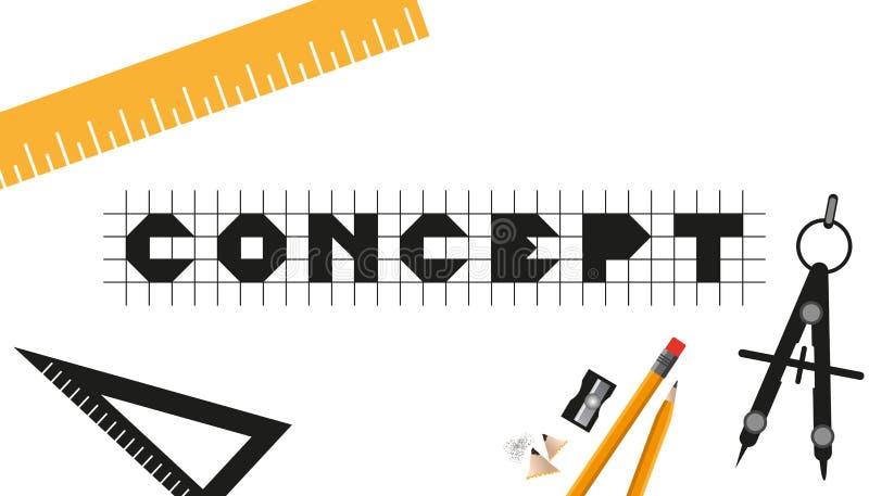 Diseño de negocio del concepto con el diseñador gráfico Tools - ejemplo del vector - aislado en el fondo blanco ilustración del vector