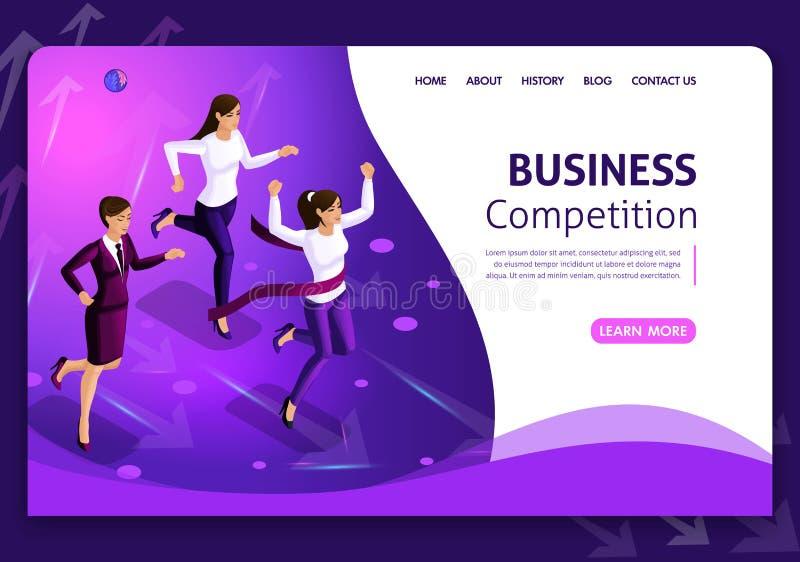 Diseño de negocio de la plantilla de la página web Concepto isométrico Búsqueda para las oportunidades Dirección y trabajo en equ stock de ilustración