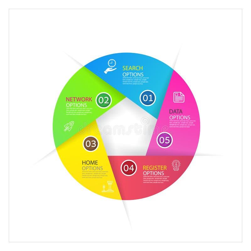 Diseño de negocio moderno del infographics con el banne de 4 opciones de las opciones libre illustration