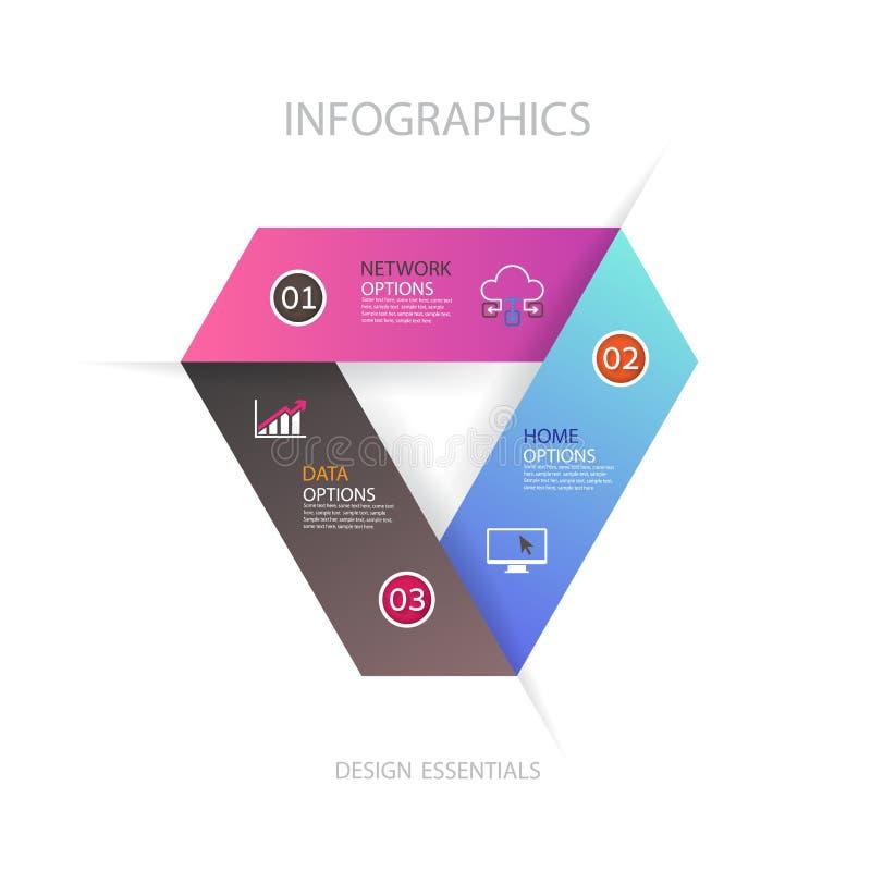 Diseño de negocio moderno del infographics con el banne de 3 opciones de las opciones libre illustration