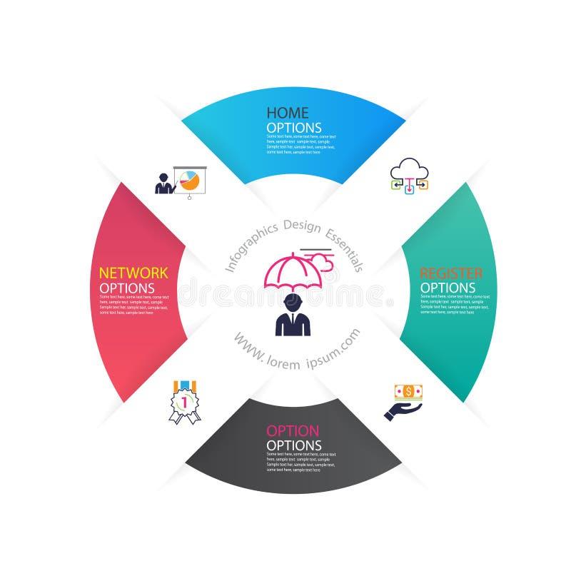 Diseño de negocio moderno del infographics con el banne de 4 opciones de las opciones ilustración del vector