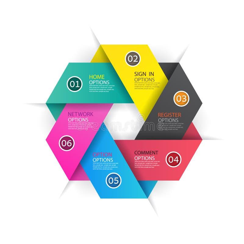Diseño de negocio moderno del infographics con el banne de 6 opciones de las opciones ilustración del vector