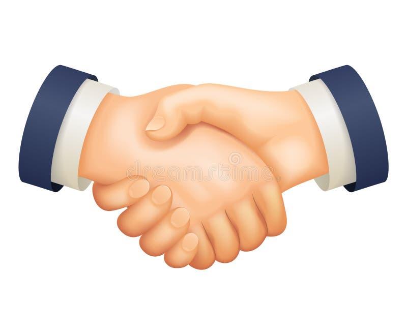 Diseño de negocio realista de la historieta 3d del acuerdo de la sociedad del hombre de negocios del apretón de manos del trato a libre illustration