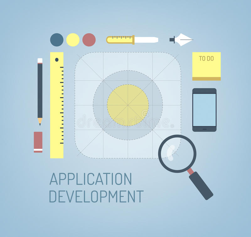 Diseño de nuevo icono del uso del IOS del móvil stock de ilustración