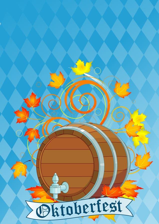 Diseño de Oktoberfest con el barrilete stock de ilustración