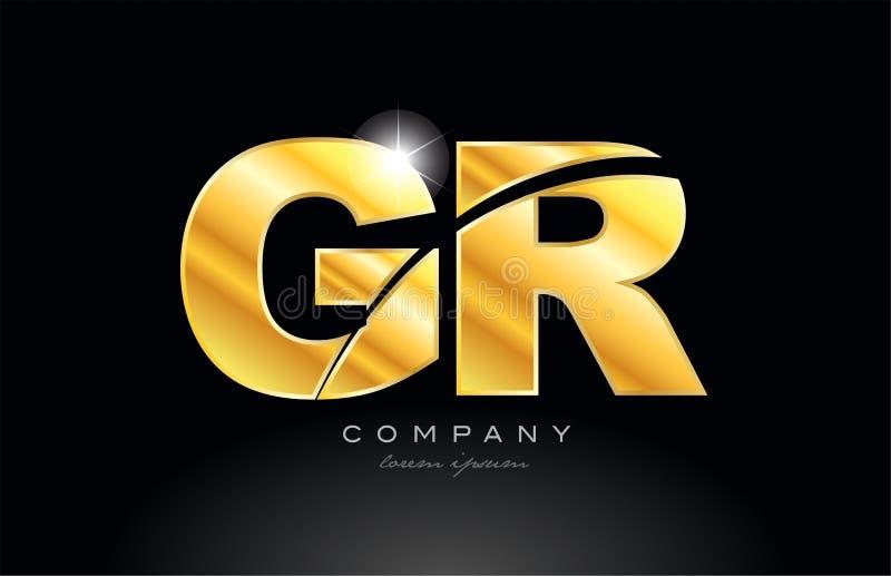 diseño de oro del icono del logotipo del metal del alfabeto del oro de GR g r de la letra de la combinación libre illustration