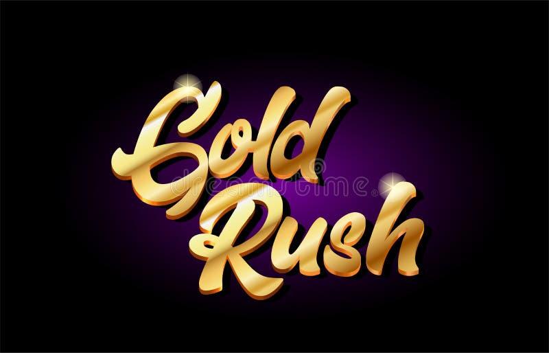 diseño de oro del icono del logotipo del metal del texto del oro de la fiebre del oro 3d manuscrito ilustración del vector