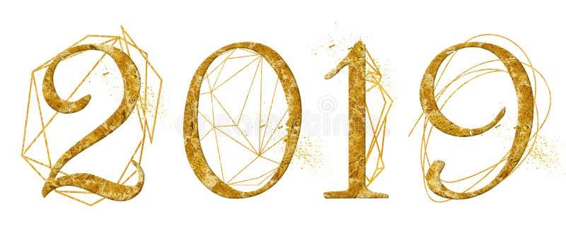 Diseño de oro del número del año 2019 con la muestra cristalina del Año Nuevo de la acuarela de la forma geométrica del oro imagen de archivo