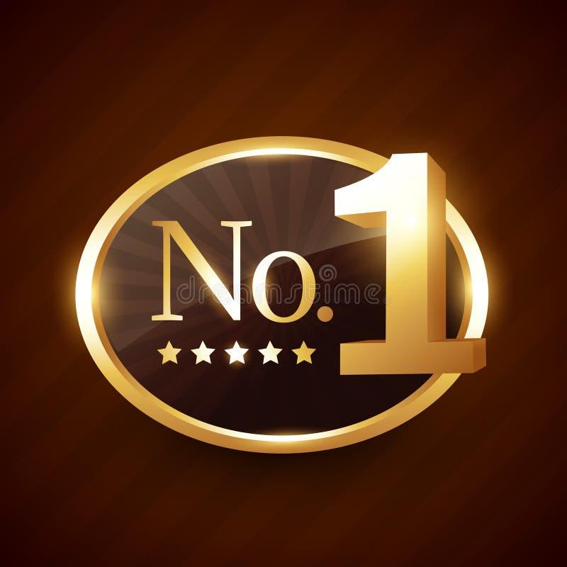 Diseño de oro del vector de la etiqueta de la marca del número uno libre illustration