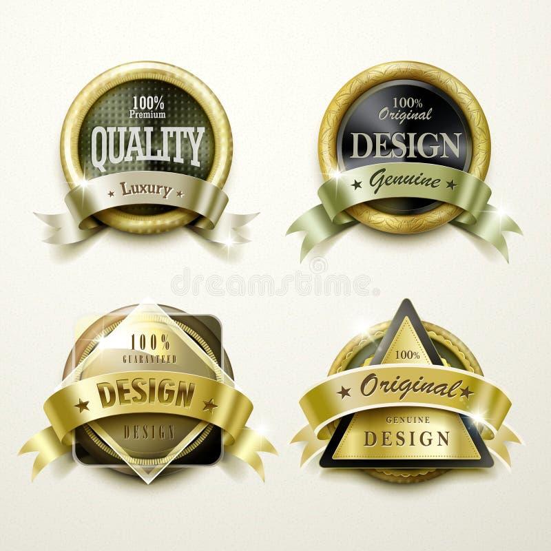 Diseño de oro elegante de las etiquetas stock de ilustración