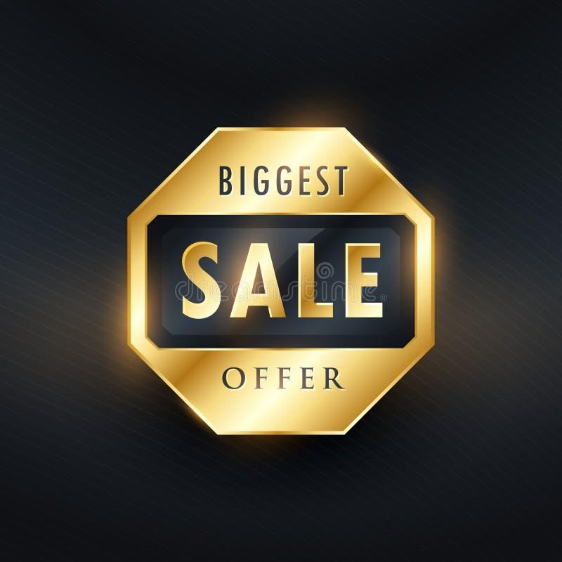 diseño de oro de la etiqueta de la oferta más grande de la venta libre illustration