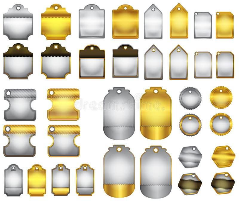 Diseño de oro y de plata brillante moderno de la placa de la insignia y de la etiqueta (VE stock de ilustración