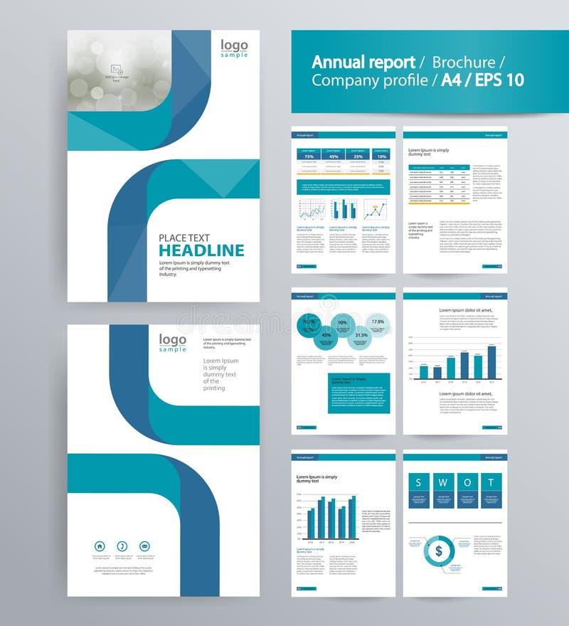 Diseño de página para el perfil de compañía, el informe anual, y la plantilla del folleto ilustración del vector