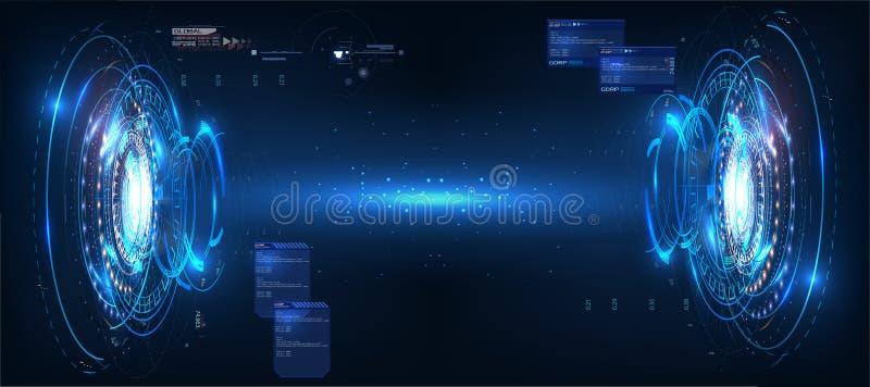 Diseño de pantalla futurista del interfaz de HUD del vector del círculo Estilo abstracto en fondo azul Fondo abstracto del vector stock de ilustración