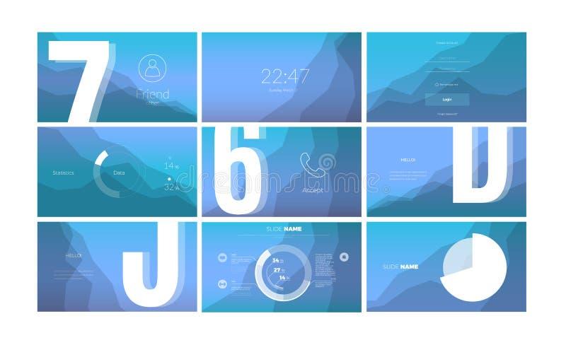 Diseño de pantalla moderno de UI para el app móvil con los elementos de la web libre illustration
