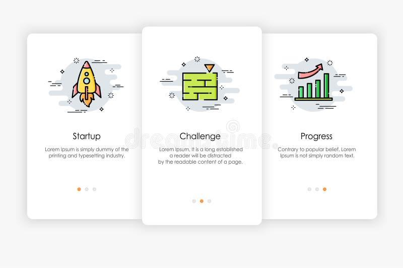 Diseño de pantallas de Onboarding en concepto del negocio libre illustration