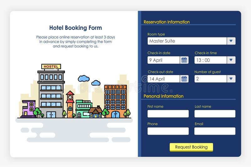 Diseño de pantallas de Onboarding en formulario e icono de reserva de hotel libre illustration